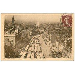 carte postale ancienne 62 LENS. Panoramique le Marché 1939