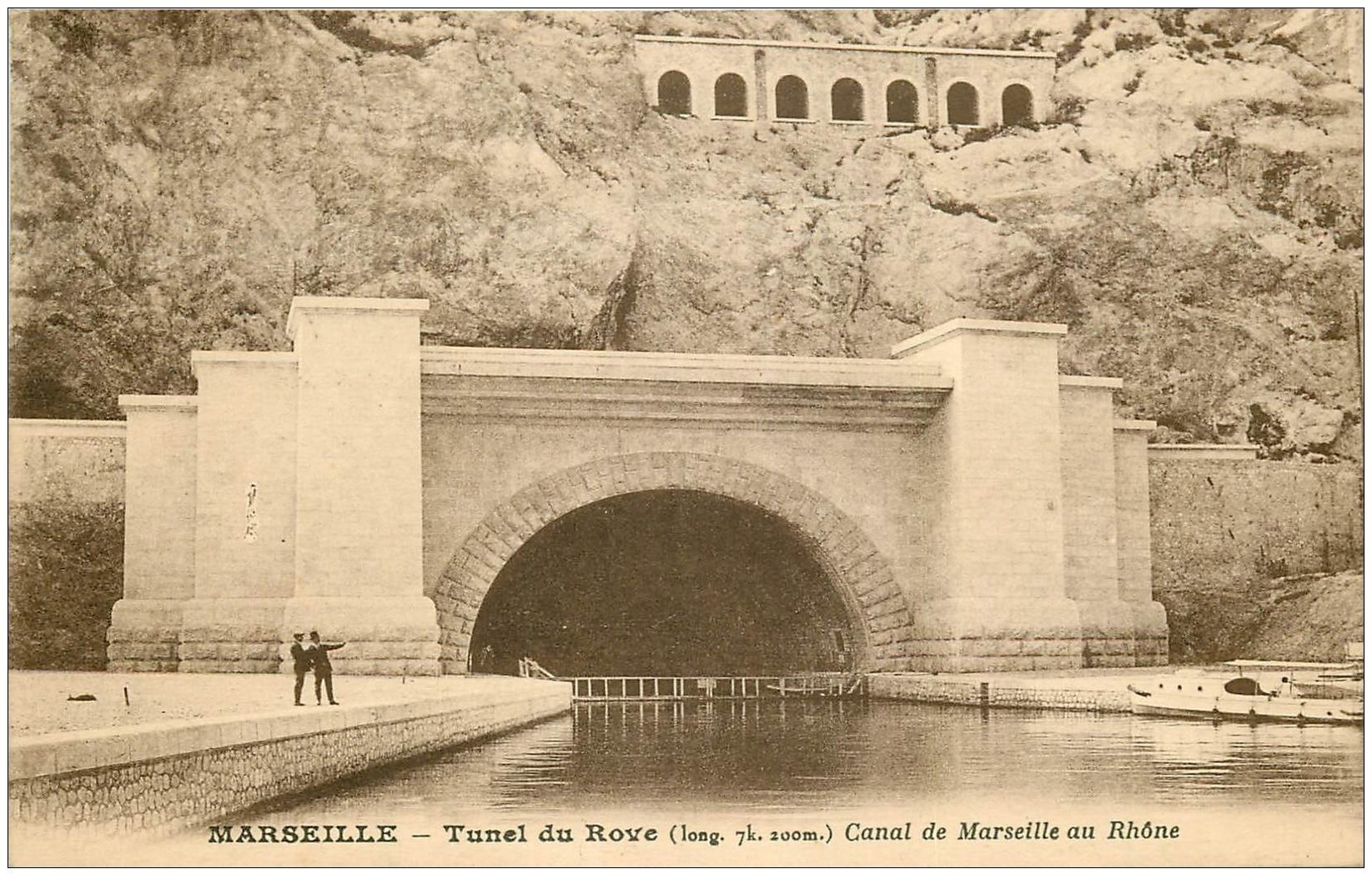 carte postale ancienne 13 MARSEILLE. Tunnel du Rove. Canal de Marseille au Rhône 1929
