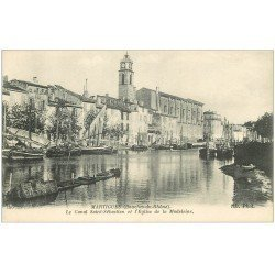 carte postale ancienne 13 MARTIGUES. Canal Saint-Sébastien et Eglise de la Madeleine.