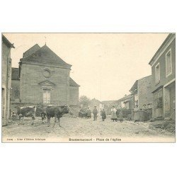 carte postale ancienne 70 BOUSSERAUCOURT. Place de l'Eglise 1909