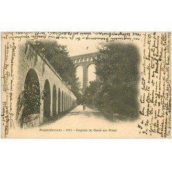 carte postale ancienne 13 ROQUEFAVOUR. Depuis la Gare au Pont avec Ouvrier. Carte pionnière 1902