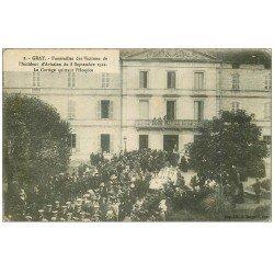 carte postale ancienne 70 GRAY. Funérailles des Victimes Accident Aviation de 1912