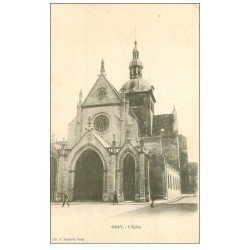 carte postale ancienne 70 GRAY. L'Eglise animation vers 1900