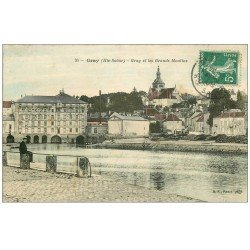 carte postale ancienne 70 GRAY. Les Grands Moulins 1909. Distillerie Maurice en face