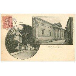 carte postale ancienne 70 GRAY. Palais de Justice 1905. Top Rare carte écrite à Raphaël Paynot, Sculpteur Modeleur...