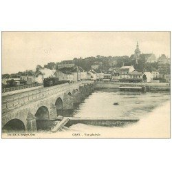 carte postale ancienne 70 GRAY. Train sur le Pont