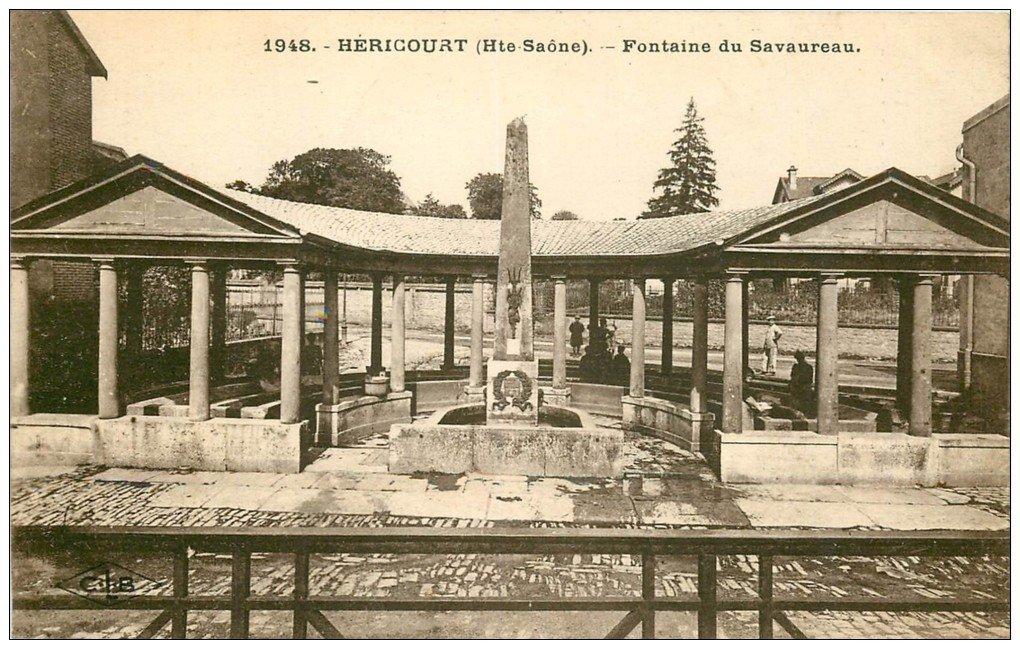 carte postale ancienne 70 HERICOURT. Fontaine du Savaureau Lavoir 1925