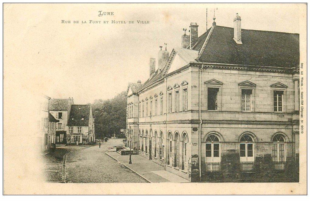carte postale ancienne 70 LURE. Hôtel de Ville Rue de la Font 1903
