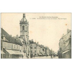 carte postale ancienne 70 LURE. La Grande Rue Place Eglise 1919
