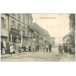 carte postale ancienne 70 LURE. Rue de la Gare 1917. A la Maison Bleue Magasin de cartes postales et Editeur