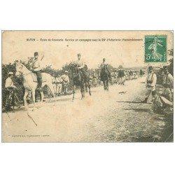 carte postale ancienne 71 AUTUN. Ecole Cavalerie. Campagne du 29° d'Infaterie 1909