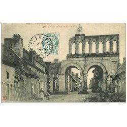 carte postale ancienne 71 AUTUN. Porte Romaine dite d'Arroux 1906