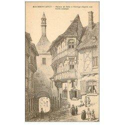 carte postale ancienne 71 BOURBON-LANCY. Maison de Bois et Horloge