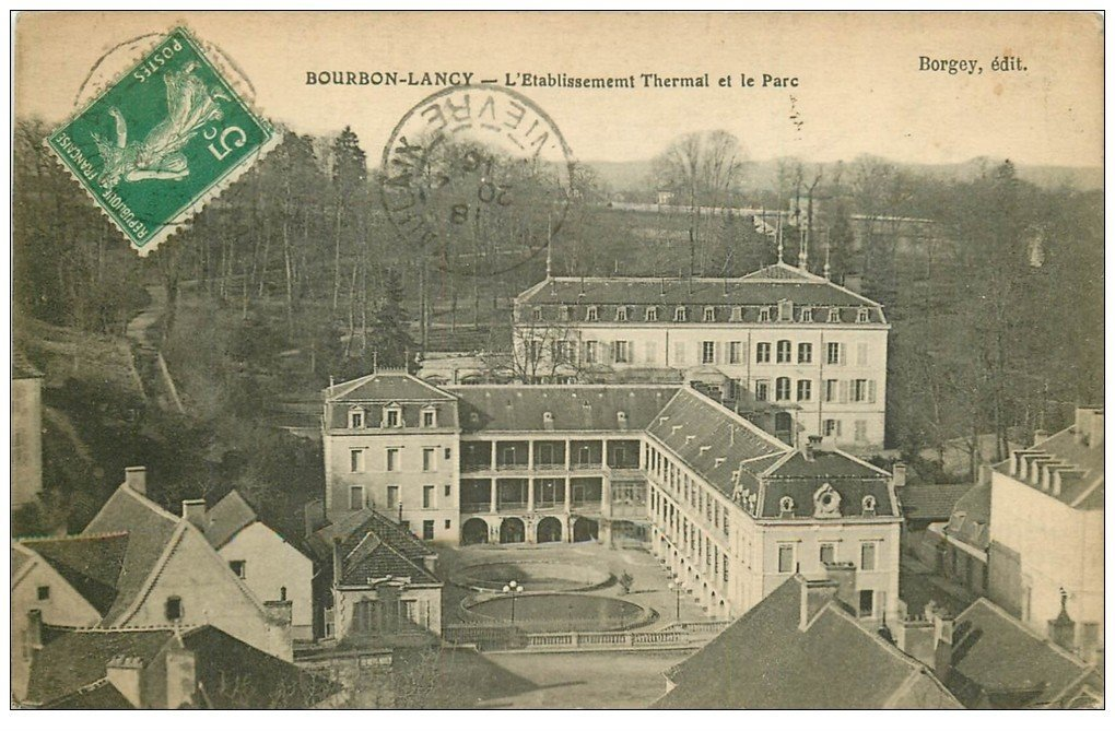 carte postale ancienne 71 BOURBON-LANCY. Parc Etablissement Thermal 1916