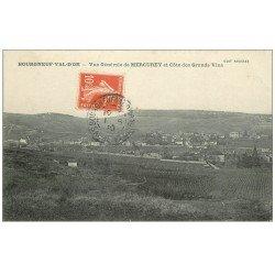 carte postale ancienne 71 BOURGNEUF-VAL-D'OR. Vue de Mercurey et Côte des Grands Vins 1910