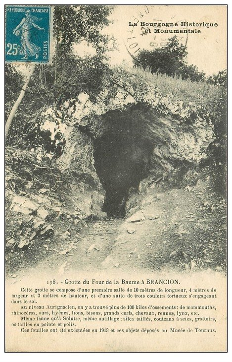 carte postale ancienne 71 BRANCION. Grotte du Four de la Baume 1924