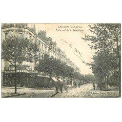 carte postale ancienne 71 CHALON-SUR-SAONE. Brasserie Hôtel Moderne Boulevard de la République 1917