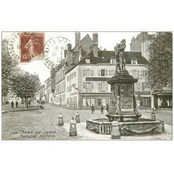 carte postale ancienne 71 CHALON-SUR-SAONE. Fontaine Neptune 1930