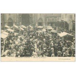 carte postale ancienne 71 CHALON-SUR-SAONE. Le Marché Saint-Vincent. Librairie Adam