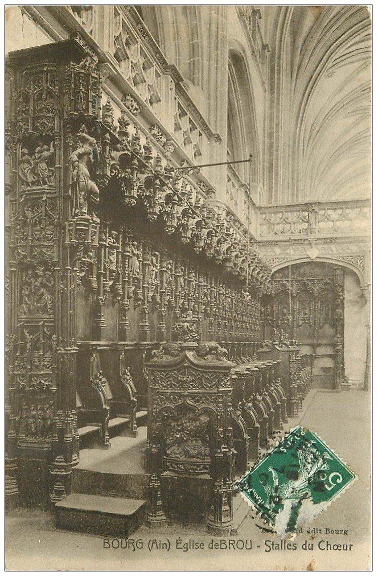 carte postale ancienne 01 BOURG. Eglise de Brou. Stalle de Choeur 1907