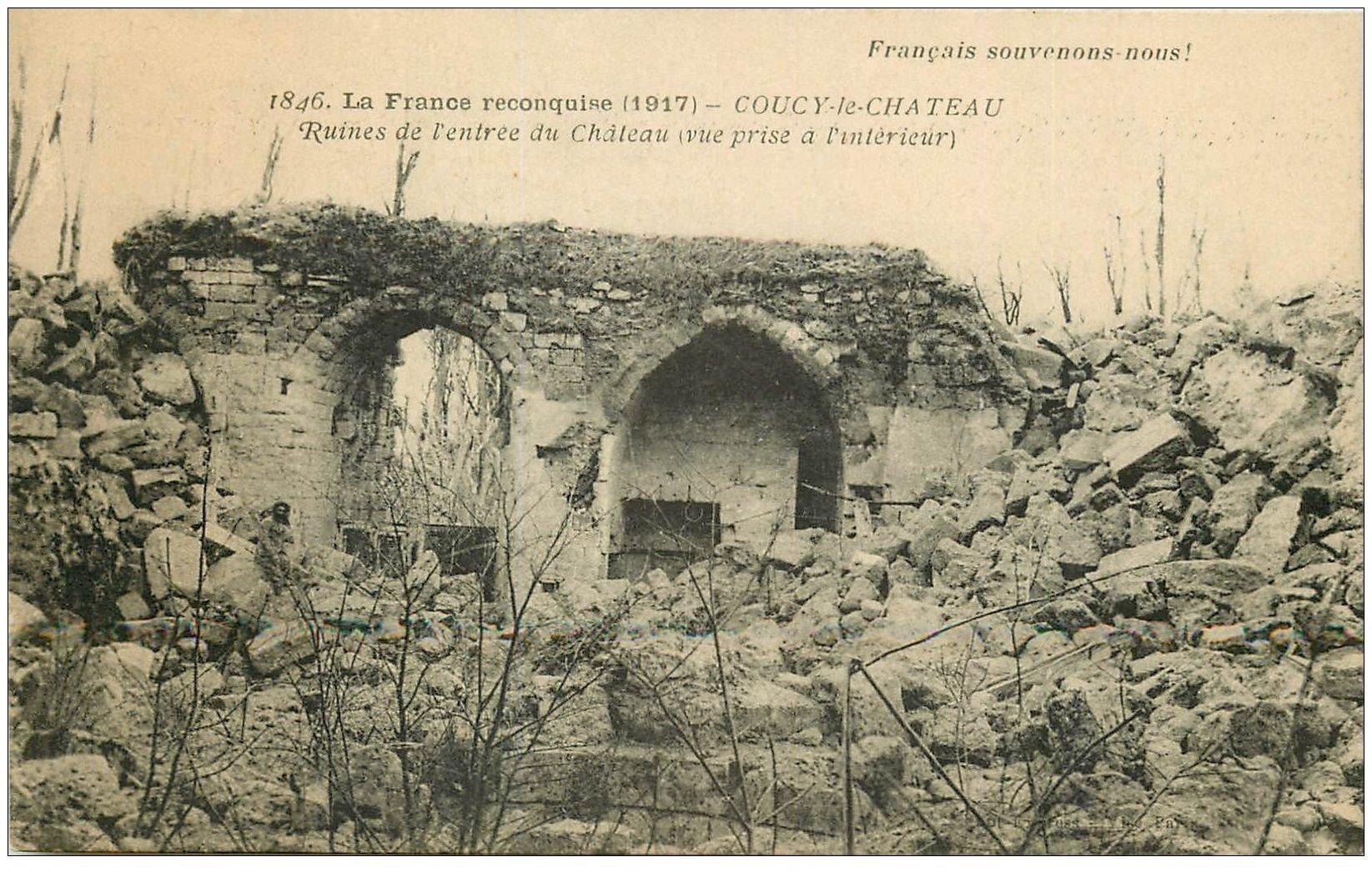 carte postale ancienne 02 COUCY-LE-CHATEAU. Ruines entrée du Château
