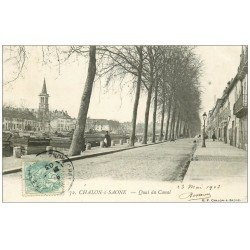 carte postale ancienne 71 CHALON-SUR-SAONE. Quai du Canal 1903
