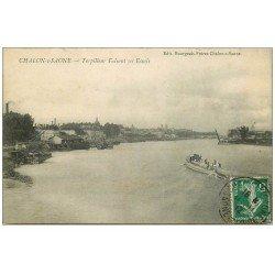 carte postale ancienne 71 CHALON-SUR-SAONE. Torpilleur faisant ses Essais 1912