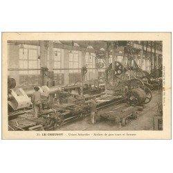carte postale ancienne 71 LE CREUSOT. Ateliers gros tours et foreuses 1923 Usines Schneider