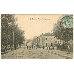 carte postale ancienne 71 LE CREUSOT. Café Route de Montcenis 1905