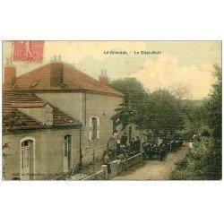 carte postale ancienne 71 LE CREUSOT. Estaminet Restaurant Le Chat Noir. Carte toilée 1907