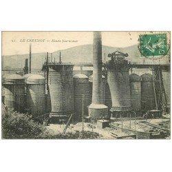 carte postale ancienne 71 LE CREUSOT. Les Hauts Fourneaux 1916. Usines Schneider
