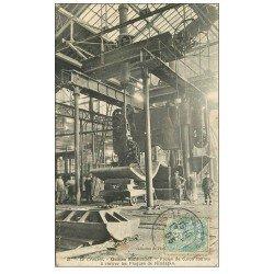 carte postale ancienne 71 LE CREUSOT. Presse à cintrer Plaques de blindages 1905. Usines Schneider
