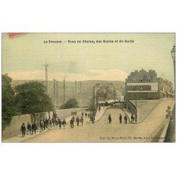 carte postale ancienne 71 LE CREUSOT. Rues Chalon, Ecoles et Guide. Carte toilée 1907