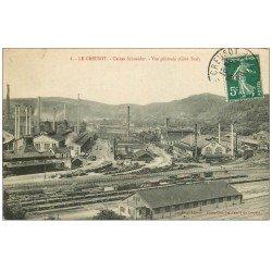 carte postale ancienne 71 LE CREUSOT. Vue générale Cheminées et Chemin de Fer 1908. Usines Schneider