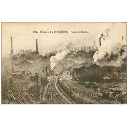 carte postale ancienne 71 LE CREUSOT. Vue partielle du Chemin de Fer. Usines Schneider 1924