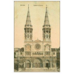 carte postale ancienne 71 MACON. Eglise Saint-Pierre 1908. Carte Photo émaillographie (tendance à se recroqueviller)..