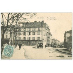 carte postale ancienne 71 MACON. Fiacre Rue Gambetta 1907