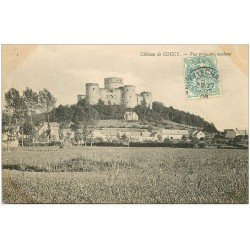 carte postale ancienne 02 COUCY-LE-CHATEAU. Vue du couchant 1906