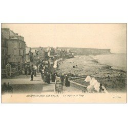 carte postale ancienne 14 ARROMANCHES. Digue et Plage 1907