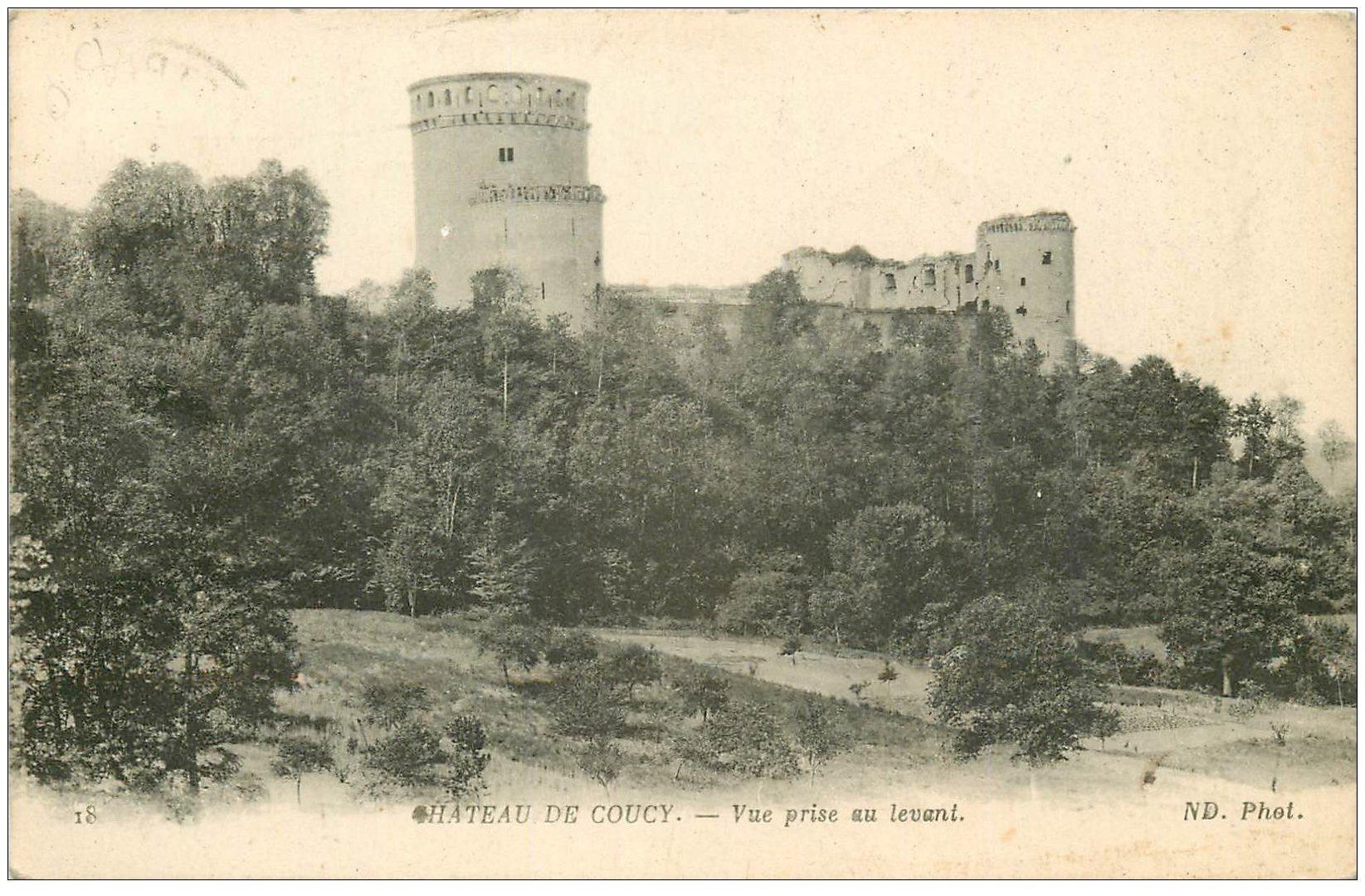 carte postale ancienne 02 COUCY-LE-CHATEAU. Vue du levant 1918