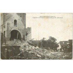 carte postale ancienne 68 ASPACH-LE-HAUT. Eglise et Cimetière bombardés 1917