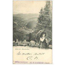 carte postale ancienne 68 COL DE LA SCHLUCHT. Blick in's Münsterthal 1900