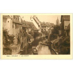 carte postale ancienne 68 COLMAR. Embarcation sur la Lauch transports tonneaux