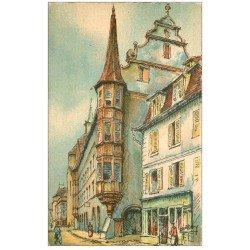 carte postale ancienne 68 COLMAR. La Maison des Arcades par Barday. Papier velin découpe à la ficelle 1953