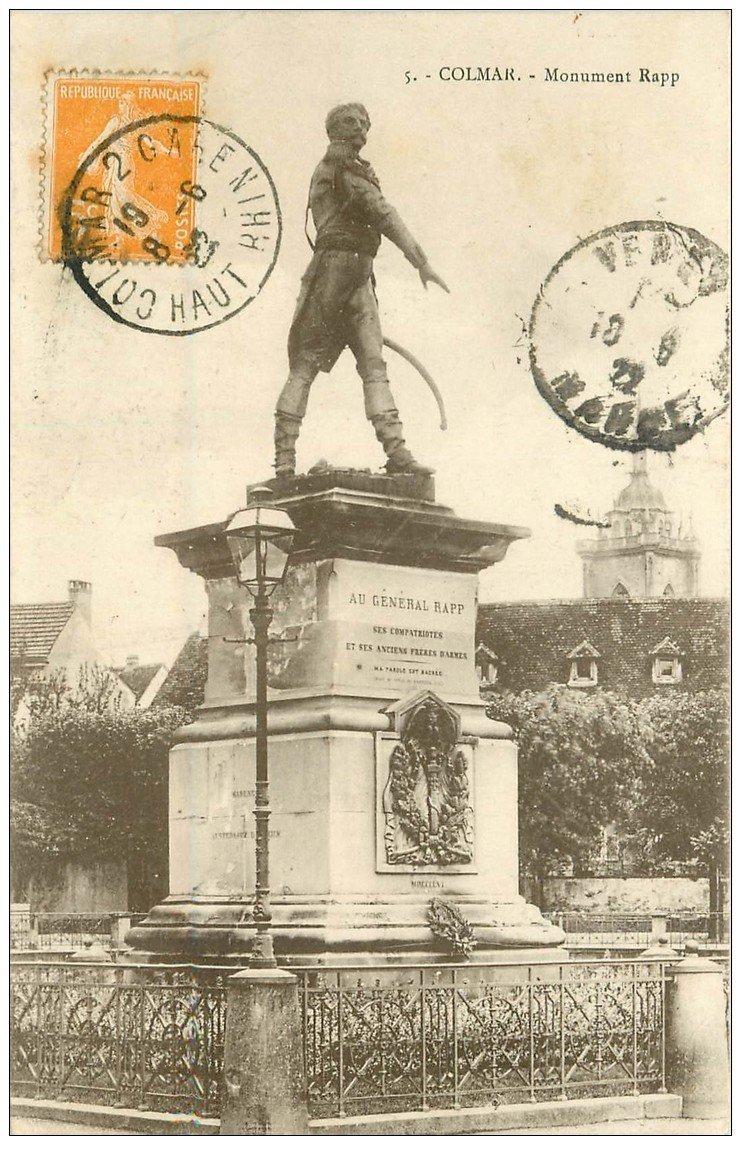 carte postale ancienne 68 COLMAR. Monument Rapp 1922