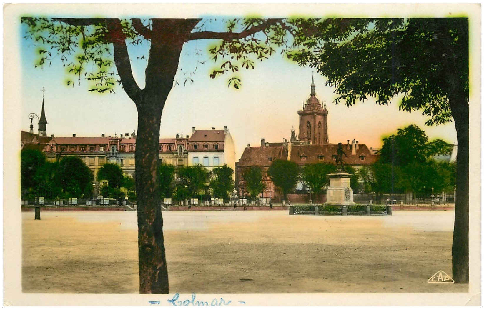 carte postale ancienne 68 COLMAR. Place Rapp. Real-Photo C.A.P