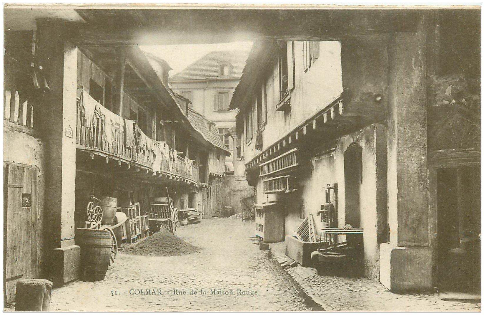 carte postale ancienne 68 COLMAR. Rue de la Maison Rouge