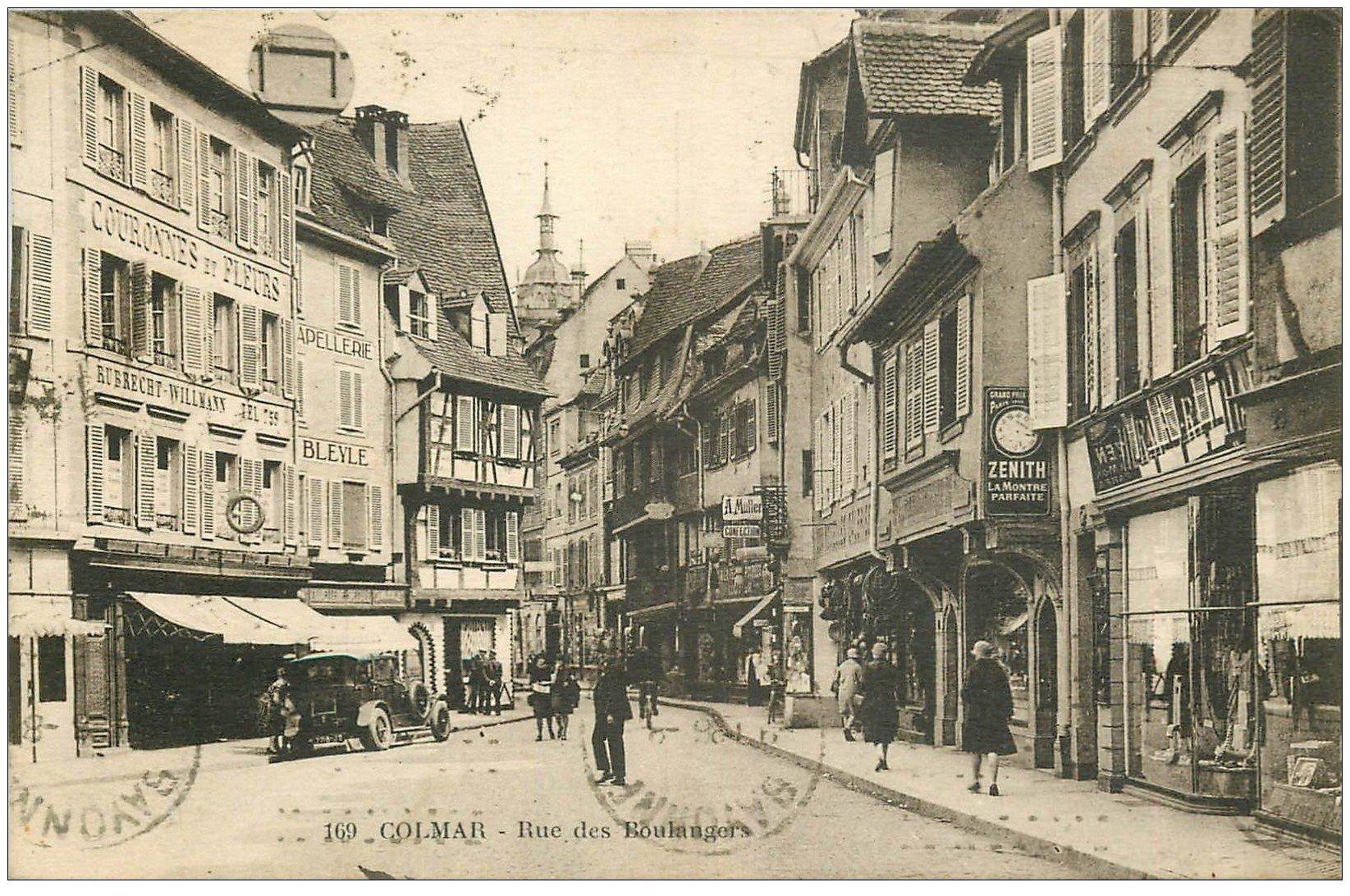 carte postale ancienne 68 COLMAR. Rue des Boulangers 1936. Capellerie, Couronnes de fleurs, Zenith...