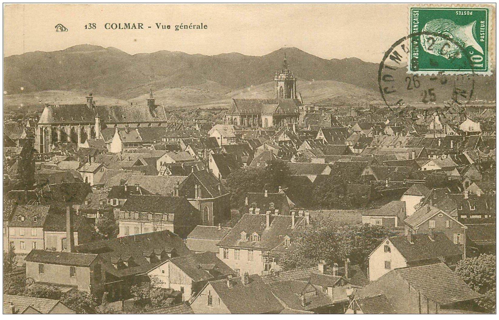 carte postale ancienne 68 COLMAR. Vue sur la Ville 1925