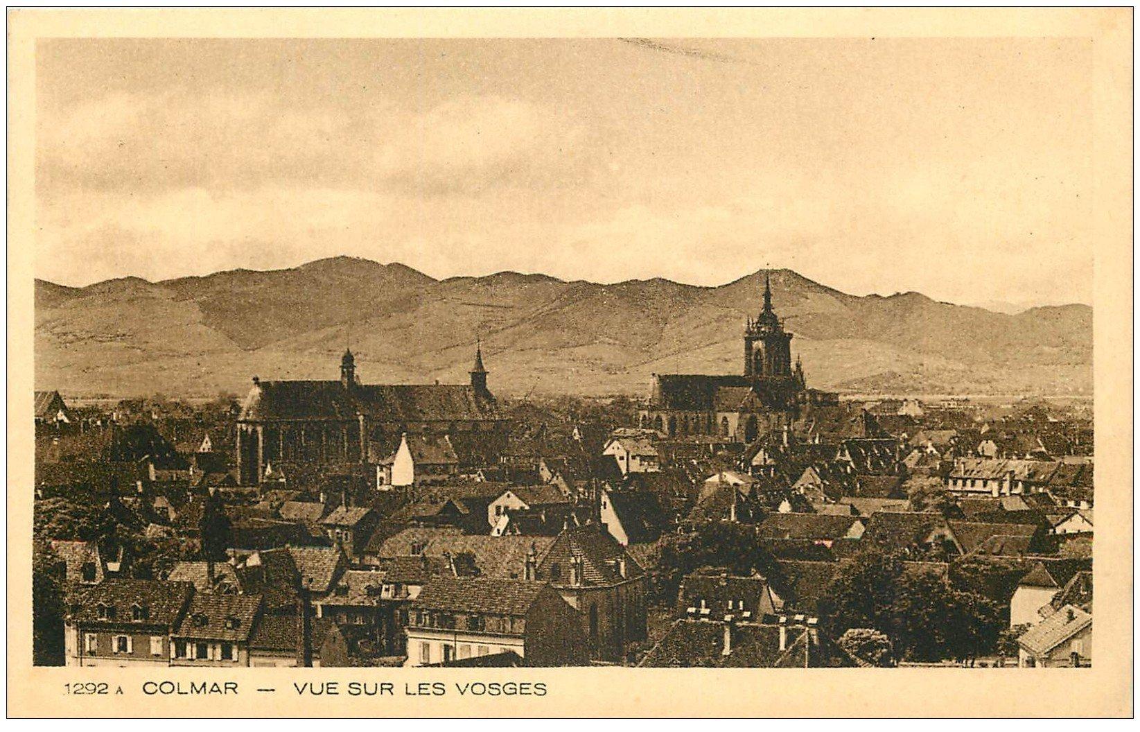 carte postale ancienne 68 COLMAR. Vue sur les Vosges